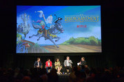 Nat Faxon, Eric Andre, Abbi Jacobson, Matt Groening and Andy Richter speak onstage at the Netflix Adult Animation Q&A and Reception on April 20, 2019 in Hollywood, California.