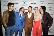 (L-R) Toby Kebbell, Ahmed Bharoocha, Daniel Stessen, Megan Ferguson, and Nicholas Rutherford attends Adult Swim's DREAM CORP LLC Season 2 Premiere at Ace Hotel on October 17, 2018 in Los Angeles, California.