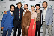 (L-R) Ahmed Bharoocha, Jon Gries, Daniel Stessen, Megan Ferguson, Nicholas Rutherford, Jimmi Simpson attend Adult Swim's DREAM CORP LLC Season 2 Premiere at Ace Hotel on October 17, 2018 in Los Angeles, California.