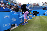 Sabine Lisicki of Germany makes her way to the players bench for her quarter final match over Daniela Hantuchova of Slovakia on day five of the Aegon Classic at Edgbaston Priory Club on June 19, 2015 in Birmingham, England.