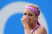 Sabine Lisicki of Germany reacts in her match against Magdalena Rybarikova of Slovakia on day four of the Aegon Classic at Edgbaston Priory Club on June 18, 2015 in Birmingham, England.