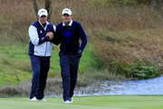 Phil Mickelson of the United States celebrates with Keegan Bradley of the United States during the Afternoon Foursomes of the 2014 Ryder Cup on the PGA Centenary course at the Gleneagles Hotel on September 26, 2014 in Auchterarder, Scotland.
