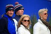Webb Simpson (L) of the United States and wife Dowd Simpson watch with Bubba Watson of the United States and wife Angie Watson during the Afternoon Foursomes of the 2014 Ryder Cup on the PGA Centenary course at the Gleneagles Hotel on September 27, 2014 in Auchterarder, Scotland.