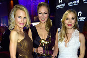 Regina Halmich, Ruth Moschner and Sonja Kiefer attend the Bambi Awards 2015 party at Atrium Tower on November 12, 2015 in Berlin, Germany.