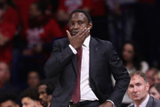 Head coach Avery Johnson of the Alabama Crimson Tide reacts during the first half of the college basketball game against the Arizona Wildcats at McKale Center on December 9, 2017 in Tucson, Arizona. The Wildcats defeated the Crimson Tide 88-82.