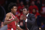 Head coach Avery Johnson (R) of the Alabama Crimson Tide talks with Collin Sexton #2 during the second half of the college basketball game against the Arizona Wildcats at McKale Center on December 9, 2017 in Tucson, Arizona. The Wildcats defeated the Crimson Tide 88-82.