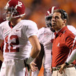Nick Saban and Greg McElroy Photos