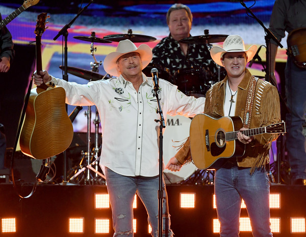 53rd Academy Of Country Music Awards - Show [string instrument,musician,music,entertainment,performance,music artist,musical instrument,stage,event,alan jackson,jon pardi,nevada,las vegas,mgm grand garden arena,l,academy of country music awards,show]