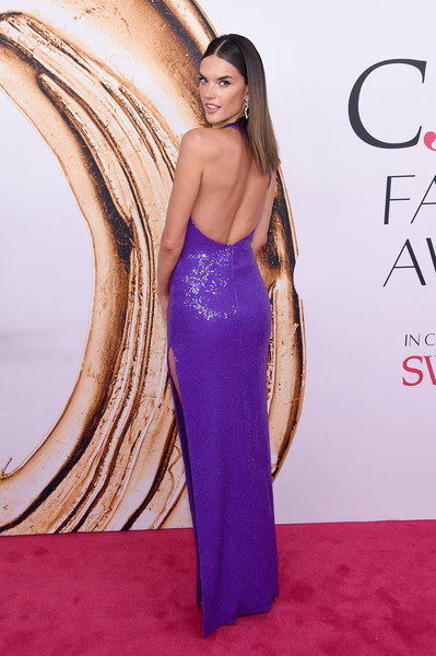 2016 CFDA Fashion Awards - Arrivals [clothing,dress,red carpet,shoulder,gown,carpet,purple,strapless dress,long hair,hairstyle,arrivals,alessandra ambrosio,hammerstein ballroom,new york city,cfda fashion awards]