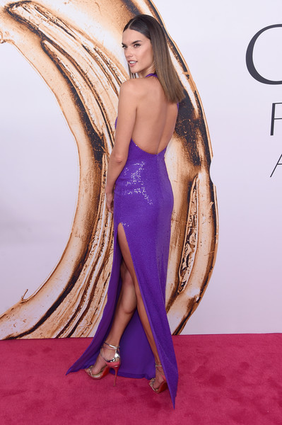 2016 CFDA Fashion Awards - Arrivals [clothing,fashion model,dress,shoulder,red carpet,long hair,purple,carpet,beauty,hairstyle,arrivals,alessandra ambrosio,hammerstein ballroom,new york city,cfda fashion awards]