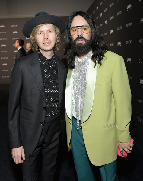 2018 LACMA Art + Film Gala Honoring Catherine Opie And Guillermo Del Toro Presented By Gucci - Red Carpet [lacma art film gala,facial hair,suit,fashion,event,beard,outerwear,formal wear,fashion design,blazer,premiere,catherine opie,guillermo del toro,alessandro michele,beck,lacma,los angeles,california,gucci,red carpet]