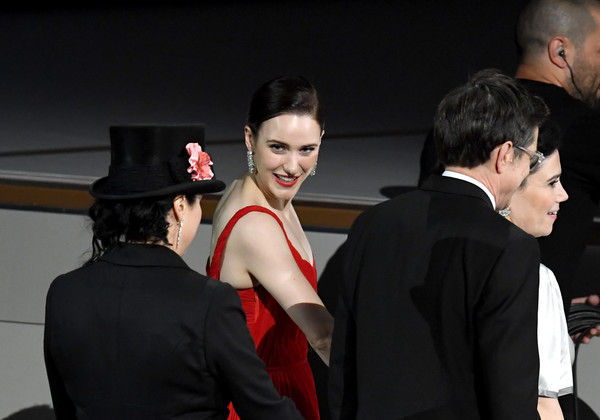 70th Emmy Awards - Show [the marvelous mrs. maisel,red,fashion,event,performance,dance,fashion design,dress,formal wear,haute couture,gesture,amy sherman-palladino,daniel palladino,alex borstein,rachel brosnahan,l-r,award,show,emmy awards,outstanding comedy series]