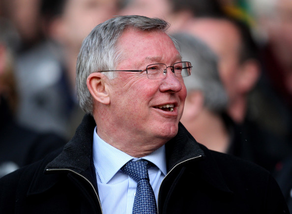 Alex Ferguson Manchester United Manager Sir Alex Ferguson laughs prior to the UEFA Champions League Quarter Final second leg match between Manchester United and Chelsea at Old Trafford on April 12, 2011 in Manchester, England.