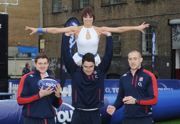 Flavia Cacace And England Rugby Stars Launch National Touch Rugby Campaign - Photocall [team,sports,championship,team sport,player,recreation,competition,games,performance,flavia cacace,brad barritt,alex goode,mike brown,touch rugby,photocall,elys yard,england,england rugby stars,photocall]