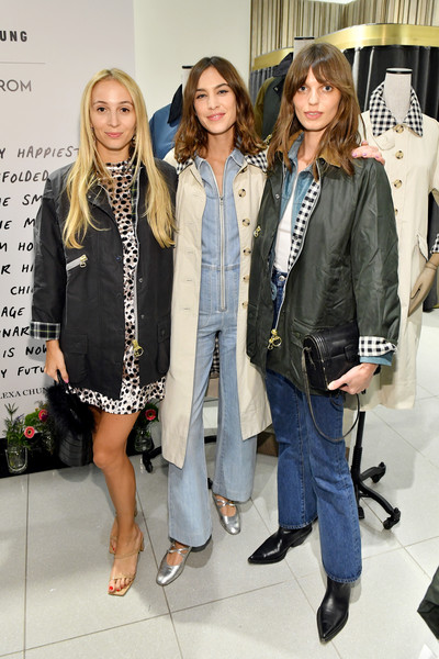 Alexa Chung Celebrates Barbour By ALEXACHUNG Fall 2019 Collection At Nordstrom [clothing,fashion,jeans,outerwear,event,denim,fashion design,footwear,blazer,street fashion,alexa chung celebrates barbour by alexachung fall 2019 collection,alexa chung,harley viera-newton,lola mcdonnell,l-r,new york city,nordstrom,barbour by alexachung fall 2019 collection celebration]