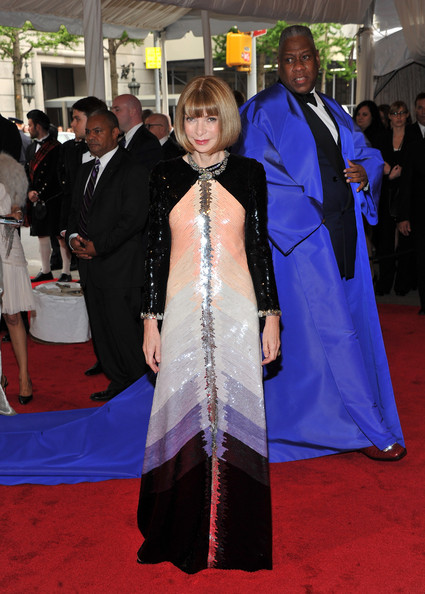 "Editor-in-Chief of Vogue Anna Wintour and Andre Leon Talley attend the ""Alexander McQueen: Savage Beauty"" Costume Institute Gala at The Metropolitan Museum of Art on May 2, 2011 in New York City."