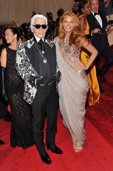 "Designer Karl Lagerfeld and actress Blake Lively attend the ""Alexander McQueen: Savage Beauty"" Costume Institute Gala at The Metropolitan Museum of Art on May 2, 2011 in New York City."