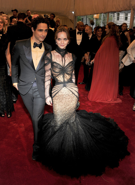 """Designer Zac Posen and actress Christina Ricci attend the """"Alexander McQueen: Savage Beauty"""" Costume Institute Gala at The Metropolitan Museum of Art on May 2, 2011 in New York City."""