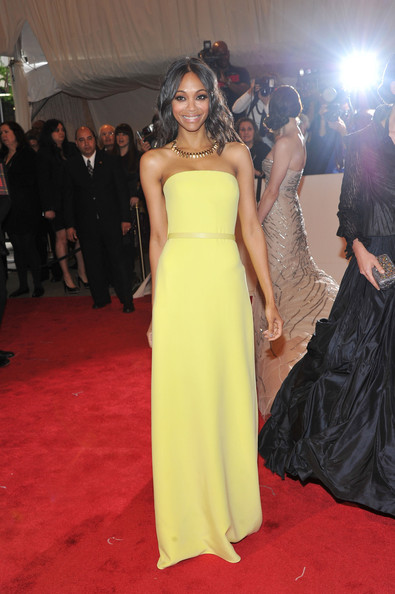 """Actress Zoe Saldana attends the """"Alexander McQueen: Savage Beauty"""" Costume Institute Gala at The Metropolitan Museum of Art on May 2, 2011 in New York City."""