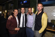 (L-R) Adam Long, Nat Wolff, Dan Krauss and Alexander Skarsgård pose for a photo together as Alexander Skarsgård receives the IMDb STARmeter Award at The 2019 Tribeca Film Festival After Party for The Kill Team hosted by IMDbPro at The Ainsworth - FiDi on April 27, 2019 in New York City.