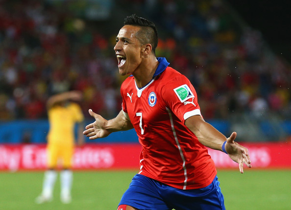 Chile v Australia: Group B  [sports,ball game,player,football player,team sport,soccer player,sports equipment,soccer,football,team,alexis sanchez,goal,brazil,chile,arena pantanal,cuiaba,teams,2014 fifa world cup brazil group b,chile v australia: group b - 2014 fifa world cup,match]