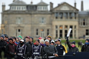 Edoardo Molinari of Italy tees off the second during day four of the 2018 Alfred Dunhill Links Championship at The Old Course on October 7, 2018 in St Andrews, Scotland.
