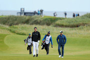 Former cricketers Kevin Pietersen and Mark Boucher in action during day two of the 2017 Alfred Dunhill Championship at Kingsbarns on October 6, 2017 in St Andrews, Scotland.