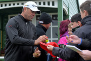 Jacques Kallis signs autographs for spectators on the first hole during the second round of the Alfred Dunhill Links Championship on the Championship Course, Carnoustie on October 7, 2016 in Carnoustie, Scotland.