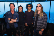 (L-R) Sean Kinney,  Mike Inez, William DuVall and Jerry Cantrell of Alice In Chains pose for a photo before performing for SiriusXM's Lithium Channel at The Space Needle on August 21, 2018 in Seattle, Washington.