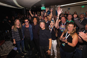(L-R) Jerry Cantrell, Sean Kinney, William DuVall and Mike Inez of Alice In Chains pose for a photo after performing for SiriusXM's Lithium Channel at The Space Needle on August 21, 2018 in Seattle, Washington.