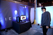 Actor Geoffrey Arend checks out the latest virtual reality and gaming technology at a VIP Alienware Party during E3, in partnership with NVIDIA and Intel, at the 3D Live Studio on June 13, 2016 in Los Angeles, California.