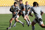 Stephen Donald passes the ball to Ma'a Nonu during a New Zealand All Blacks captain's run at Westpac Stadium on June 19, 2009 in Wellington, New Zealand.