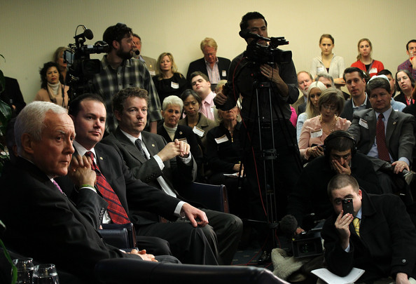 Members Of Congress Attend Tea Party Town Hall In Washington [people,event,audience,fashion,crowd,performance,convention,musical ensemble,r,rand paul,members of congress,orrin hatch,mike lee,tea party town hall,washington dc,ut,tea party,meeting]