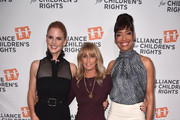 (L-R) Sarah Rafferty, NBCUniversal Cable Chairman Bonnie Hammer, and Gina Torres attend The Alliance For Children's Rights 26th Annual Dinner at The Beverly Hilton Hotel on March 28, 2018 in Beverly Hills, California.