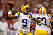 Jordan Jefferson #9 of the Louisiana State University Tigers passes against the Alabama Crimson Tide during the 2012 Allstate BCS National Championship Game at Mercedes-Benz Superdome on January 9, 2012 in New Orleans, Louisiana.