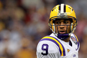 Jordan Jefferson #9 of the Louisiana State University Tigers looks on against the Alabama Crimson Tide during the 2012 Allstate BCS National Championship Game at Mercedes-Benz Superdome on January 9, 2012 in New Orleans, Louisiana.