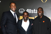 Former basketball player Greg Buckner (L), Lamont Evans and football player C.J. Spiller pose on the blue carpet during the  Allstate Party At The Playoff on January 7, 2017 in Tampa, Florida.