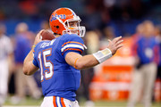 Quarterback Tim Tebow #15 of the Florida Gators warms up on the field before the Allstate Sugar Bowl against the Cincinnati Bearcats at the Louisana Superdome on January 1, 2010 in New Orleans, Louisiana.