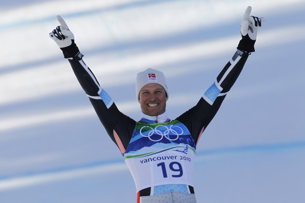 (FRANCE OUT) Aksel Lund Svindal of Norway takes the Gold Medal during the men's alpine skiing Super-G on day 8 of the Vancouver 2010 Winter Olympics at Whistler Creekside on February 19, 2010 in Whistler, Canada.