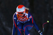 Chemmy Alcott of Great Britain skis during the Alpine Skiing Women's Downhill on day 5 of the Sochi 2014 Winter Olympics at Rosa Khutor Alpine Center on February 12, 2014 in Sochi, Russia.