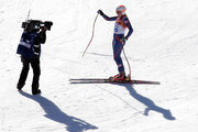 Chemmy Alcott of Great Britain reacts after her run during the Alpine Skiing Women's Downhill on day 5 of the Sochi 2014 Winter Olympics at Rosa Khutor Alpine Center on February 12, 2014 in Sochi, Russia.