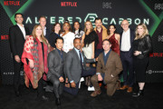 "(L-R) Bill Bost, Alison Schapker, David Ellison, Dana Goldberg, Will Yun Lee, Simone Missick, Anthony Mackie, Renée Elise Goldsberry, Dina Shihabi, Torben Liebrecht, Chris Conner, Lela Loren, Peter Friedlander, and Laura Delahaye attends Netflix's ""Altered Carbon"" Season 2 Fan Event and Reception on February 24, 2020 in New York City."