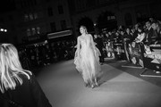 """Image has been converted to black and white)  Gwendoline Christie attends """"The Personal History Of David Copperfield"""" European Premiere & Opening Night Gala during the 63rd BFI London Film Festival at the Odeon Luxe Leicester Square on October 02, 2019 in London, England."""