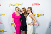 Actresses Candace Cameron-Bure, Jodie Sweetin, and Andrea Barber attend the premiere of Netflix's 'Fuller House' at Pacific Theatres at The Grove on February 16, 2016 in Los Angeles, California.