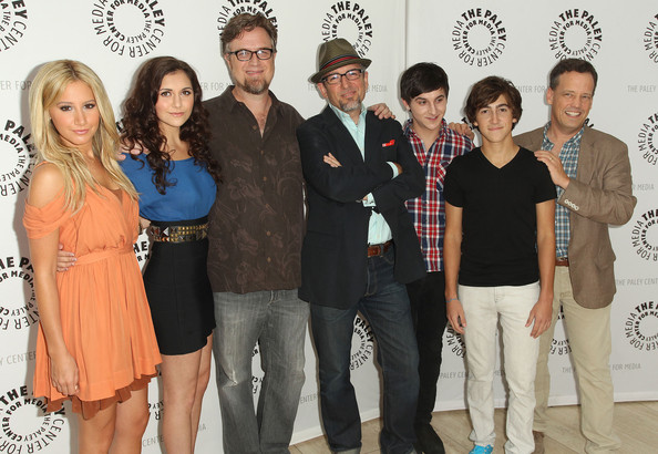 "Alyson Stoner (L-R) Ashley Tisdale, Alyson Stoner, co-creator Dan Povenmire, co-creator/executive producer Jeff ""Swampy"" Marsh, and actors Mitchel Musso, Vincent Martella and Dee Bradley Baker of ""Phineas and Ferb"" attend The Paley Center For Media's ""PaleyFest Family 2011"" on August 13, 2011 in Beverly Hills, California."