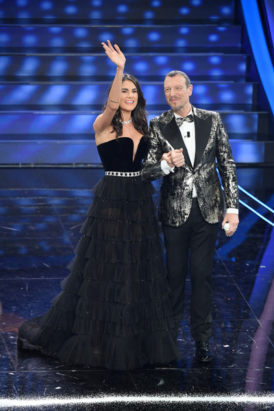 Festival Di Sanremo 2020 - Day 4 [performance,entertainment,performing arts,event,stage,public event,music artist,formal wear,musician,singer,day 4,francesca sofia novello and amadeus attend the,italy,teatro ariston,festival di sanremo,sanremo,amedeo sebastiani,sanremo music festival 2020,teatro ariston sanremo,photography,stock photography,photograph,livingly media,performance art,festival]