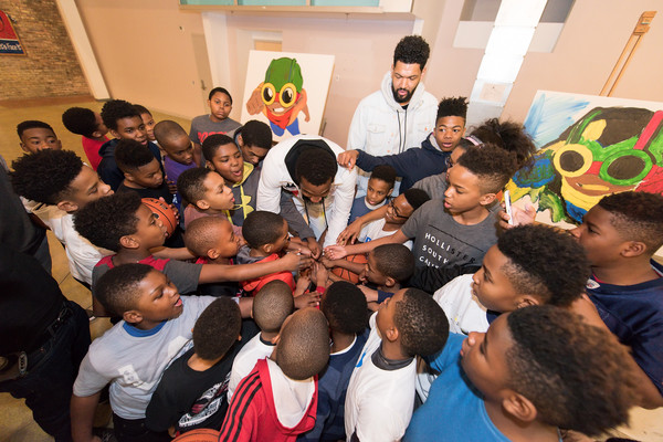 Amar'e Stoudemire and Melech Collection Present 'In The Paint' Series #2 With Hebru Brantley At Little Black Pearl School