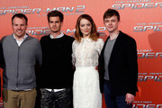 From left, director Marc Webb, actors Andrew Garfield, Emma Stone and Dane DeHaan attend 'The Amazing Spider-Man 2: Rise Of Electro' Rome Photocall at Grand Hotel St Regis on April 14, 2014 in Rome, Italy.
