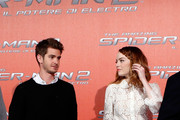 From left, Andrew Garfield and Emma Stone attend 'The Amazing Spider-Man 2: Rise Of Electro' Rome Photocall at Grand Hotel St Regis on April 14, 2014 in Rome, Italy.