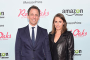 "TV Personality Seth Meyers and Alexi Ashe attend the Amazon red carpet premiere for the brand new original comedy series ""Red Oaks"" on September 29, 2015 in New York City."